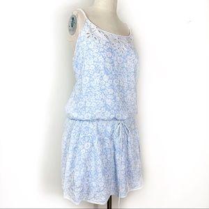 American Eagle Blue Eyelet Lace Drop Waist Dress